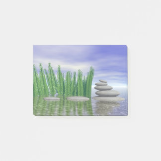 Beautiful zen landscape in the middle of aquatic post-it notes