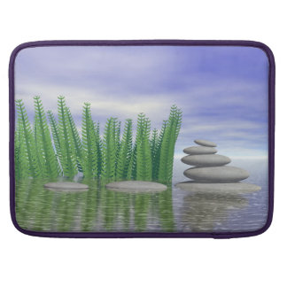 Beautiful zen landscape in the middle of aquatic sleeve for MacBooks