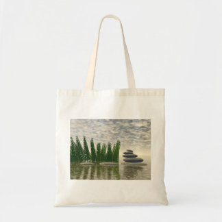 Beautiful zen landscape in the middle of aquatic tote bag