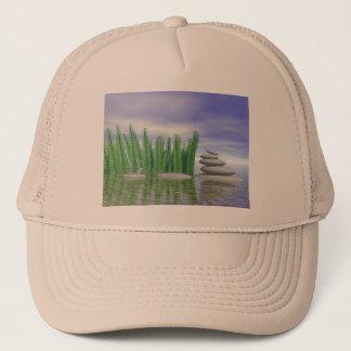 Beautiful zen landscape in the middle of aquatic trucker hat