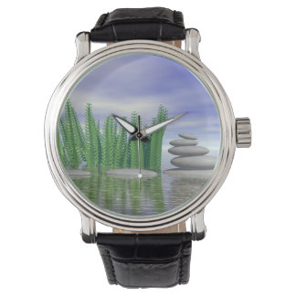 Beautiful zen landscape in the middle of aquatic watch