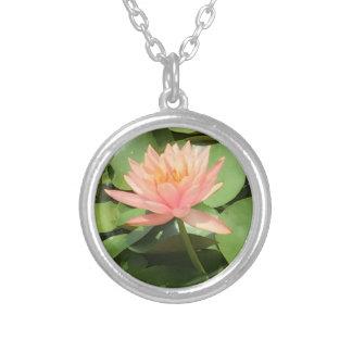 Beautiful Zen Lotus Flower Silver Necklace