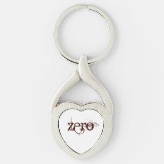Beautiful Zero Silver-Colored Twisted Heart Keychain