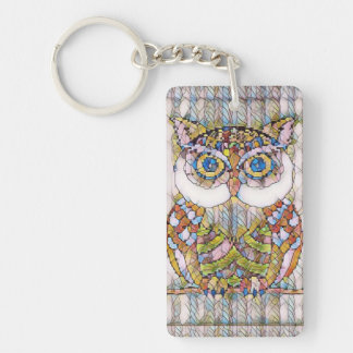 BEAUTIFULL BLUE EYED OWL. KEYCHAIN