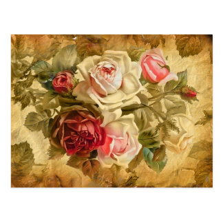 Beautifull bunch of roses on vintage background postcard