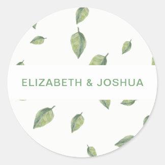 Beautifully botanical greenery wedding classic round sticker