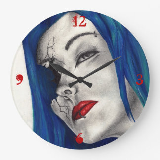 Beautifully Broken Goth Girl Horror Fantasy Art Large Clock
