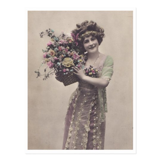 Beautifully Dressed Retro Young Woman Postcard