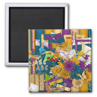 Beautifully Elegant Flowers and Butterflie Square Magnet