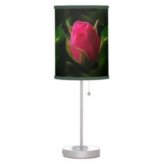 Beautifully Large Coral Red Rosebud ©AH2015 Table Lamp