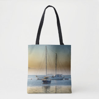 Beautifully Serene Boats on the Ocean Photo Bag
