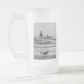 Beauty And Force Grayscale Frosted Glass Beer Mug