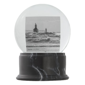 Beauty And Force Grayscale Snow Globe