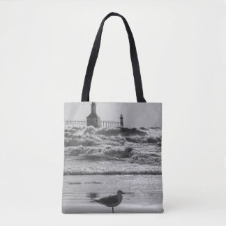 Beauty And Force Grayscale Tote Bag