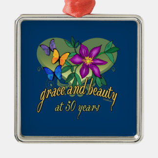 Beauty and Grace 50th Birthday Silver-Colored Square Ornament