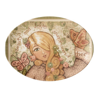 Beauty and Love Lady Porcelain Coupe Platter Porcelain Serving Platter