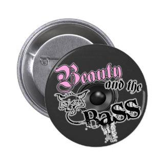 Beauty and the Bass girls EDM bass music logo Button