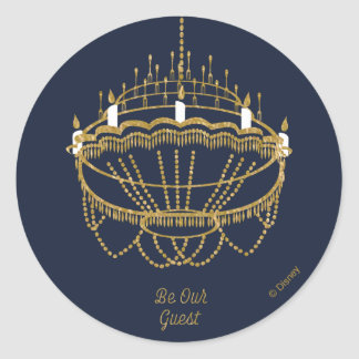 Beauty and the Beast | Chandelier - Be Our Guest Round Sticker