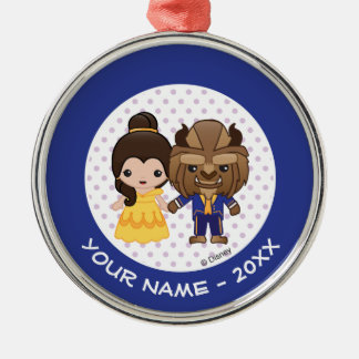 Beauty and the Beast Emoji Add Your Name Metal Ornament
