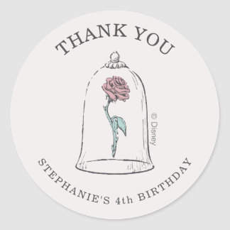 Beauty and the Beast | Enchanted Rose Birthday Classic Round Sticker