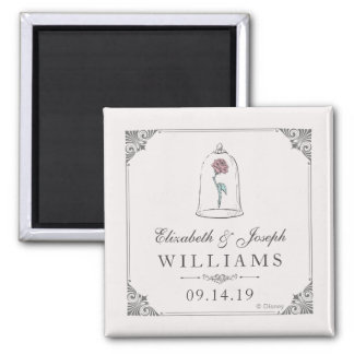 Beauty and the Beast   Enchanted Rose Wedding Square Magnet