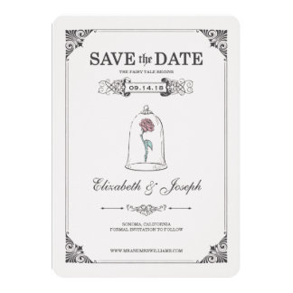 "Beauty and the Beast | Fairy Tale - Save the Date 5"" X 7"" Invitation Card"
