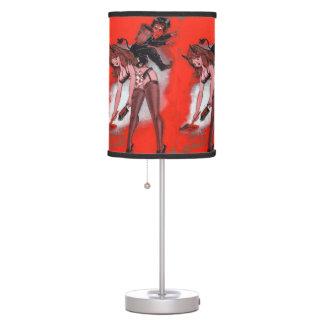 Beauty and the Krampus Vintage Xmas Christmas Table Lamp