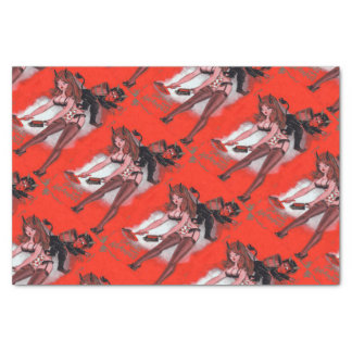 Beauty and the Krampus Vintage Xmas Christmas Tissue Paper