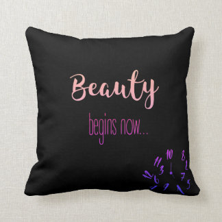 Beauty Begins Now Pillow - Black