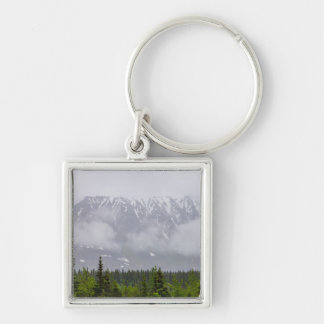 Beauty Behind The Clouds Silver-Colored Square Keychain
