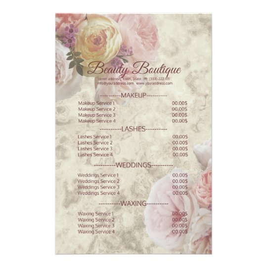 Beauty Boutique Cream Flower Elegant Price List Flyer