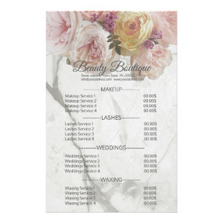 Beauty Boutique Marble Flower Price List Flyer