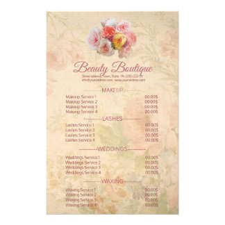 Beauty Boutique Vintage Flower Price List Flyer