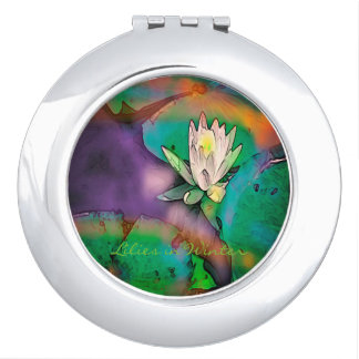 "Beauty Compact Mirror ""Lilies in Winter"" Design"""