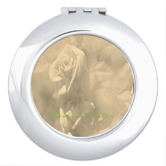 "Beauty Compact Mirror ""ROSES in Winter"" Design"""