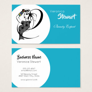 Beauty Fashion Illustration Woman Turquoise Business Card