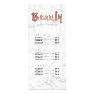 Beauty FAUX rose gold typography marble price list Rack Card Design