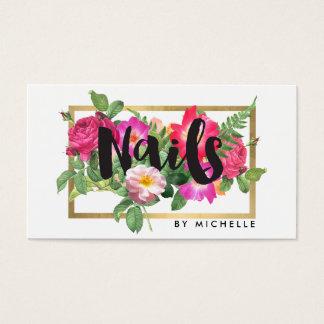 Beauty Florals Nail Salon White Business Card