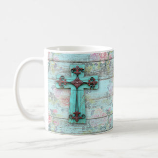 Beauty for Ashes Cross Shabby Chic Christian Rose Coffee Mug