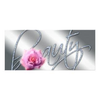 Beauty Gift Certificate Rose Flower Glitter Rack Card Template