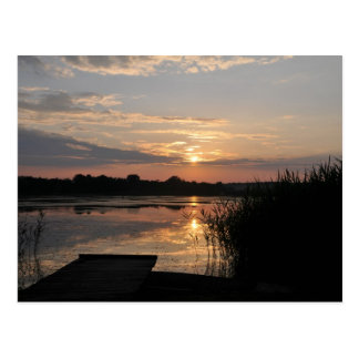 Beauty in nature, sunset at lake postcard