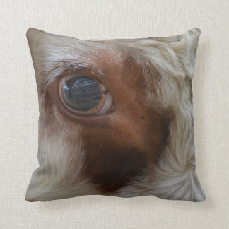Beauty In The Eye Of The Beholder Cow Throw Pillow