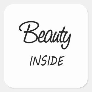 beauty inside square sticker