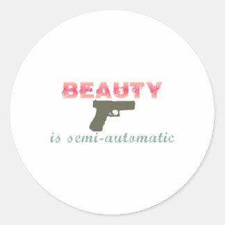 Beauty is semi-automatic round sticker