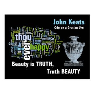 Beauty is Truth - John Keats - Grecian Urn Postcard