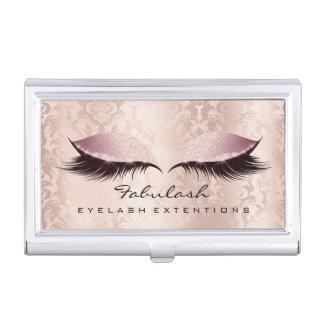 Beauty Lashes Makeup Artist Gold Pink Rose Damask Business Card Holder