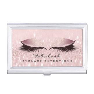 Beauty Lashes Makeup Artist Gold Pink Rose Glam Business Card Holder