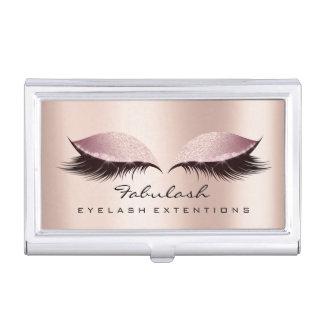 Beauty Lashes Makeup Artist Gold Pink Rose SPA Business Card Holder
