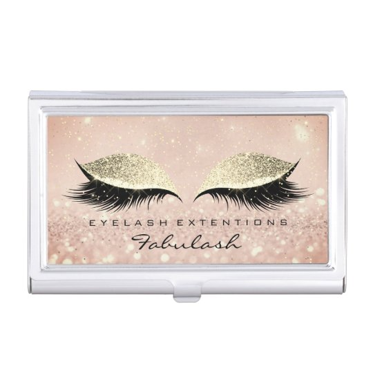 Beauty Lashes Makeup Gold Pink Blush Glitter Business Card Holder
