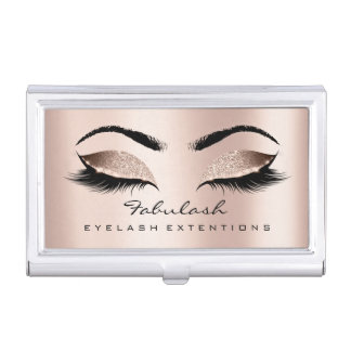 Beauty Lashes Makeup Gold Pink Rose Microblading Business Card Holder